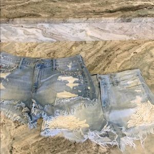 2 Pairs Hollister Jean Shorts New Condition Size 9